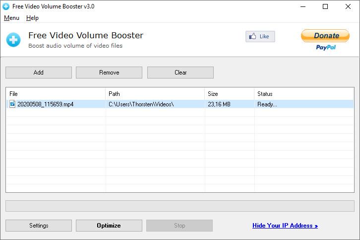Screenshot 1 - Free Video Volume Booster