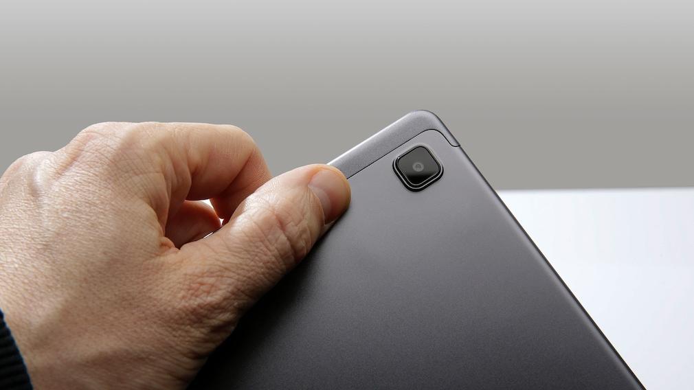 Die Kamera des Samsung Galaxy Tab A7 in der Nahaufname.