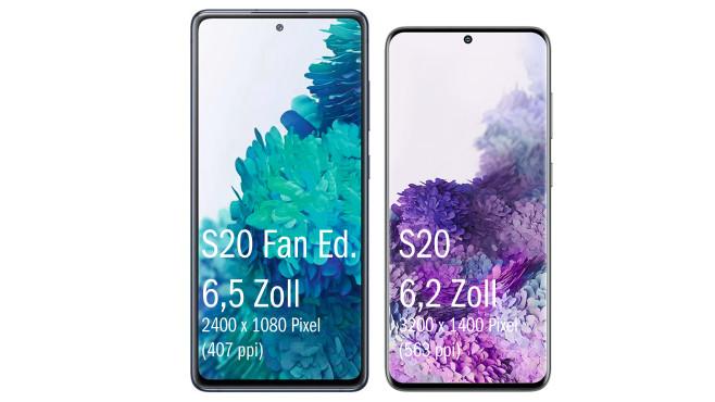 Galaxy S20 Fan Edition vs. S20©Samsung / Winfuture / Montage: COMPUTER BILD