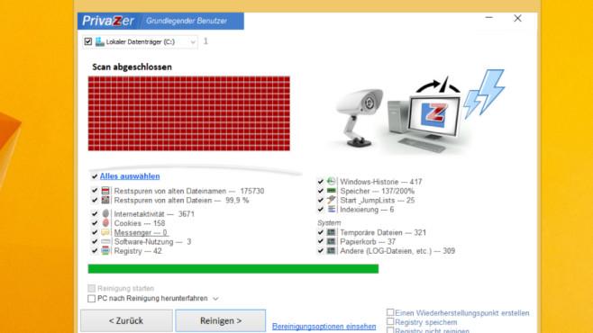 Windows reinigen: Speicher freigeben mit PrivaZer – Privasphäre verbessern©COMPUTER BILD