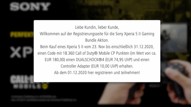 Sony Xperia 5 II Gaming Bundle Aktion © Screenshot COMPUTER BILD