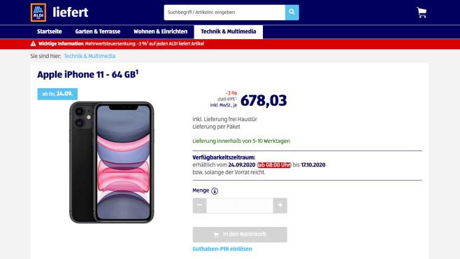 iPhone 11 bei Aldi©Aldi/Screenshot: COMPUTER BILD