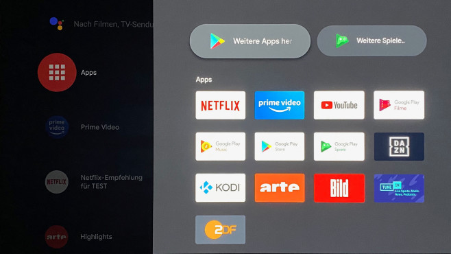 Auf dem Mi TV Stick sind dank Android 9 die meisten wichtigen Streaming-Apps verfügbar.©COMPUTER BILD