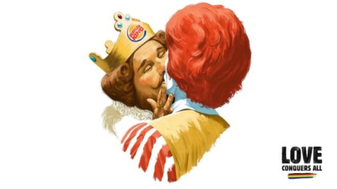 Kuss zwischen zwei Fast-Food-Ikonen©Burger King / TBWA