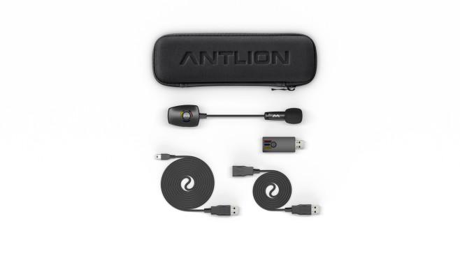 Antlion Audio Modmic Wirless im Praxistest: Verwandelt Kopfhörer in Gaming-Headsets Zum Lieferumfang gehört neben dem Empfangs-Dongle auch ein Ladekabel (micro-USB), eine USB-Verlängerung und ein Etuie.©Antlion Audio