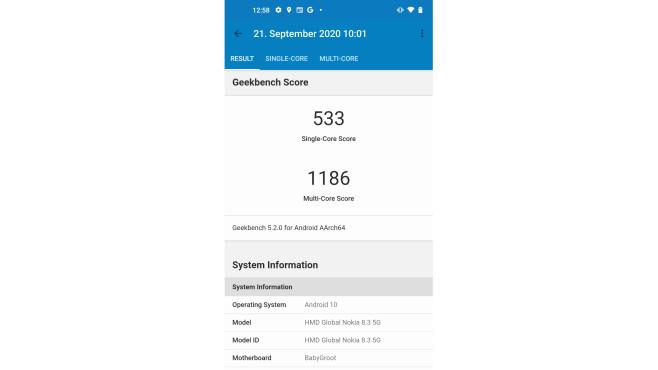 Tempoleistung des Nokia 8.3 bei Geekbench 5.1©COMPUTER BILD