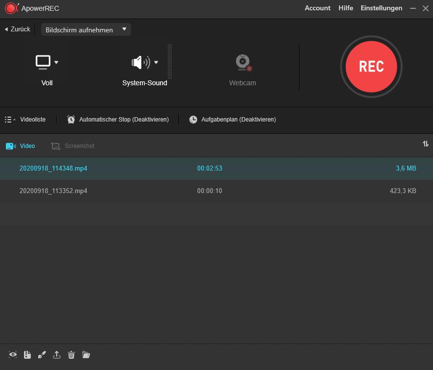 Screenshot 1 - ApowerREC – Kostenlose Vollversion für 1 Jahr