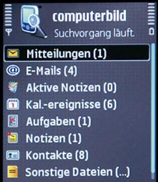 Nokia E51 Praktische Suchfunktion: Einfach Wort eingeben, und in allen Handyverzeichnissen wird gestöbert.