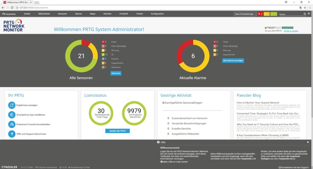Screenshot 1 - PRTG Network Monitor Free