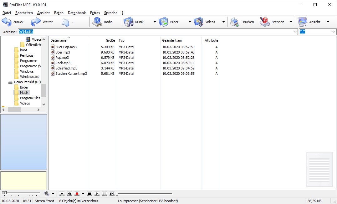 Screenshot 1 - ProFiler MP3i