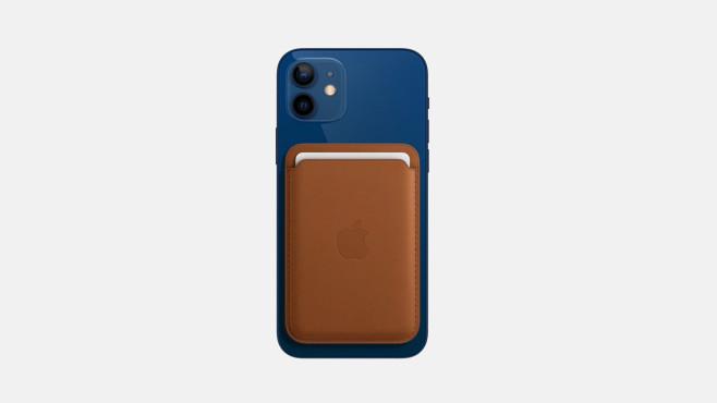 Apple iPhone 12 mini und magnetische Kartenhülle©Apple