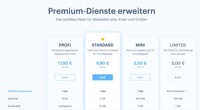 Webnode: Was bietet der Website-Baukasten? Neben der kostenlosen Variante stehen vier verschiedene Abos zur Auswahl.©Webnote