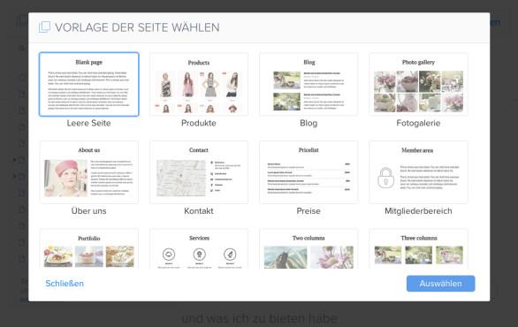 Webnode: Was bietet der Website-Baukasten? Seitenvorlagen helfen dabei, Standard-Elemente einfach hinzuzufügen.©Webnote