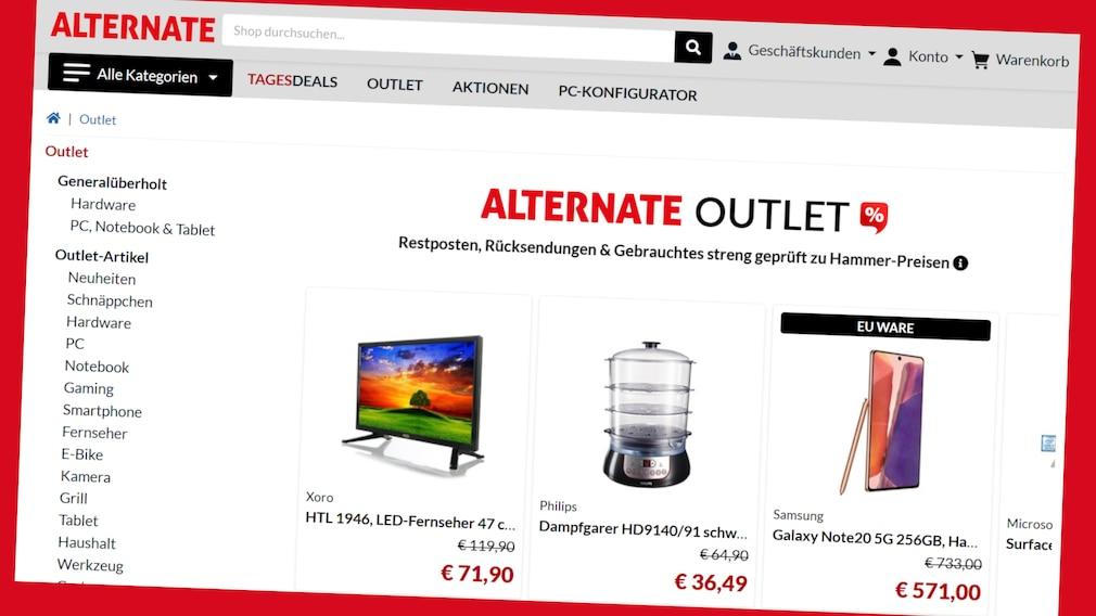 Alternate-Outlet: Bis zu 70 Prozent sparen©Screenshot www.alternate.de/Outlet