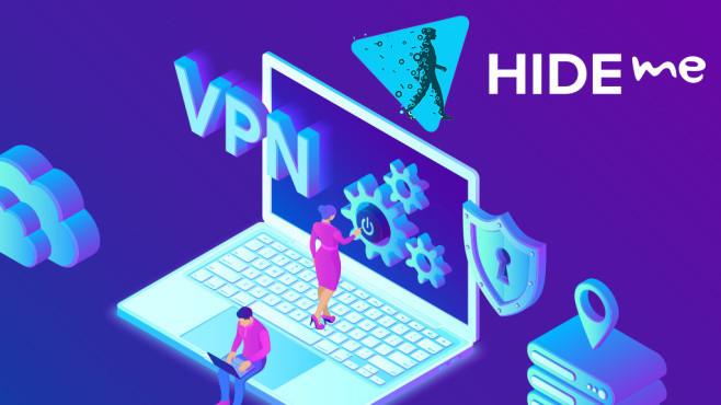 Grafik mit Laptop, Hide.me-Logo und VPN-Schriftzug©Hide.me
