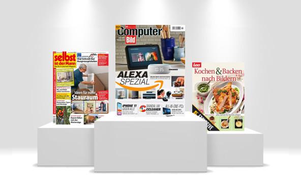 Die 10 Lieblings-Zeitschriften der Deutschen Diese drei Titel führen die Top 10 der meistgelesenen Zeitschriften auf Readly an.©Readly