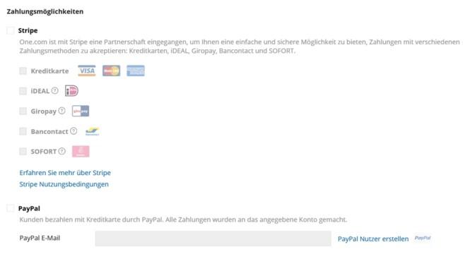 one.com: Der Website-Baukasten im Praxistest Als Zahlungsdienstleister lässt sich im Website-Baukasten von one.com außer Paypal nur noch Stripe wählen.©Computer Bild