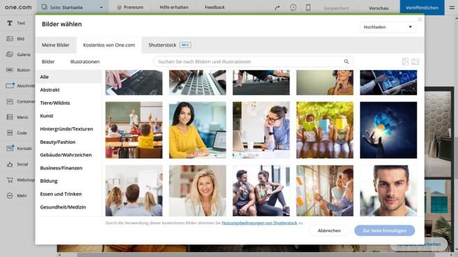 one.com: Der Website-Baukasten im Praxistest Die Galerie des Website-Baukastens von one.com enhält zahlreiche lizenzfreie Bilder und ermöglicht zudem den Zugriff auf das Angebot von Shutterstock.©Computer Bild