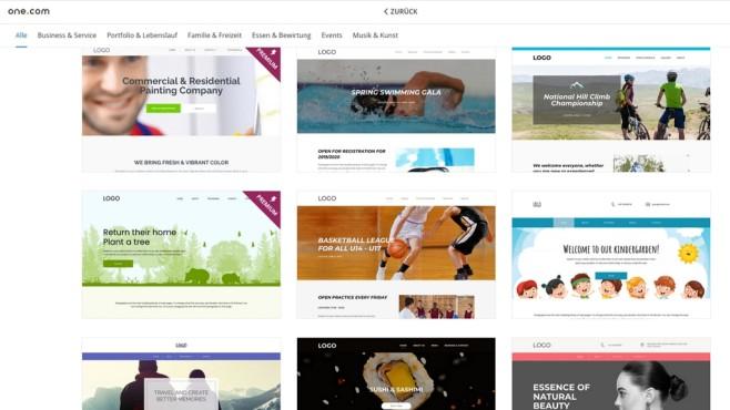 one.com: Der Website-Baukasten im Praxistest Über 140 verschiedene Vorlagen bietet der Website-Baukasten von one.com, manche jedoch nur im Premium-Paket.©Computer Bild