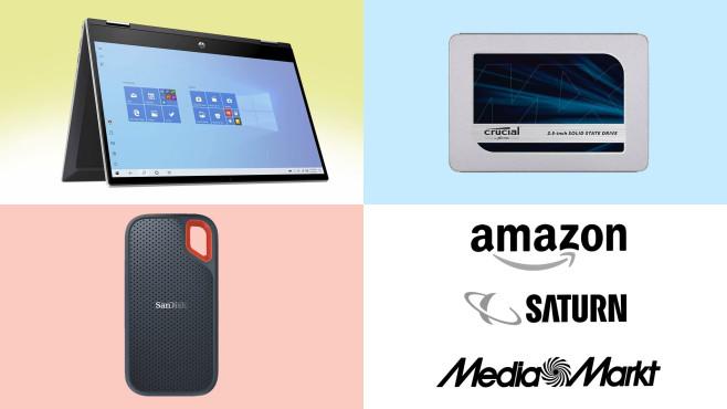 Amazon, Media Markt, Saturn: Die Top-Deals des Tages!©Amazon, Saturn, Media Markt, Crucial, SanDisk, HP