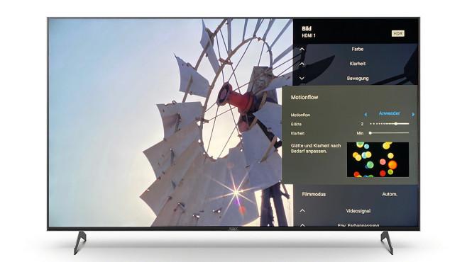 """Im umfangreichen Einstellmenü lässt sich das Bild vom Sony XH90 den persönlichen Vorlieben anpassen, so glättet """"Motion Flow"""" ruckelnde Bewegungen.©Sony, COMPUTER BILD"""