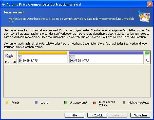 Screenshot 1 - Acronis Drive Cleanser