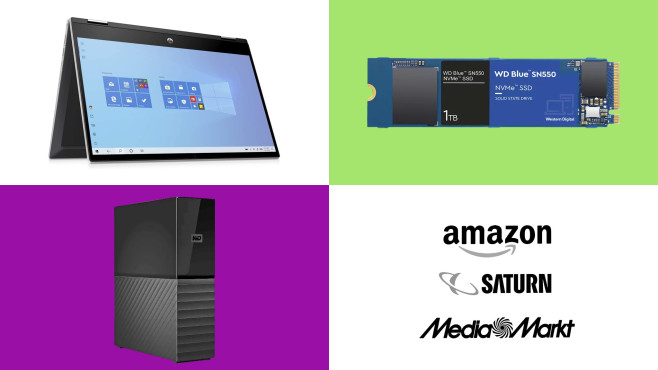 Amazon, Media Markt, Saturn: Top-Deals des Tages!©HP, WD, Amazon, Saturn, Media Markt
