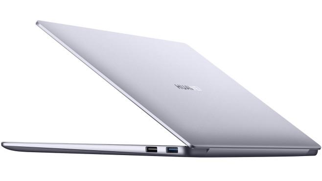 Rückseite des Huawei MateBook 14 AMD vor weißem Hintergrund©Huawei