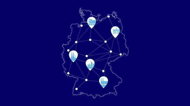 Deutschlandkarte zeigt Städte mit O2-5G-Start©Telefonica