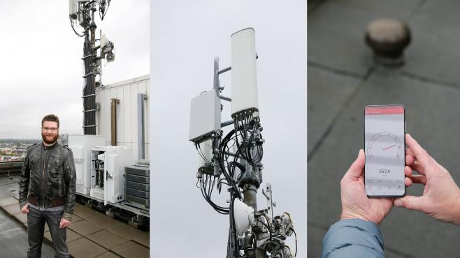 Patrick Skoruppa inspiziert O2-5G-Sender in Hamburg-Winterhude©COMPUTER BILD