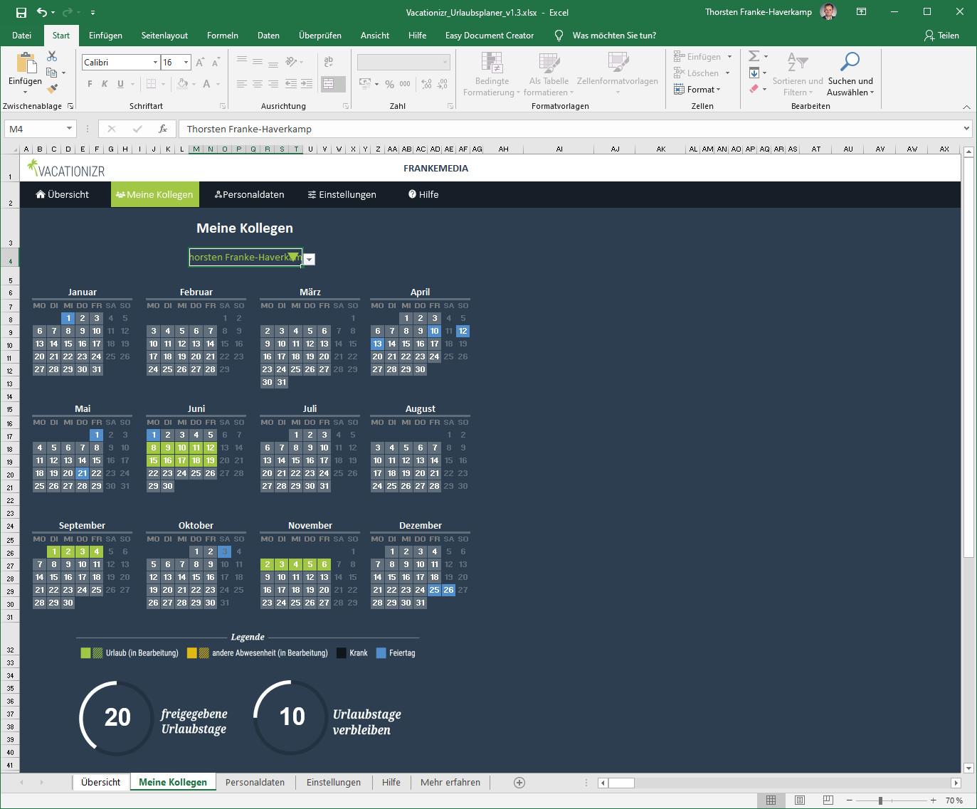 Screenshot 1 - Vacationizr: Urlaubsplaner für Excel