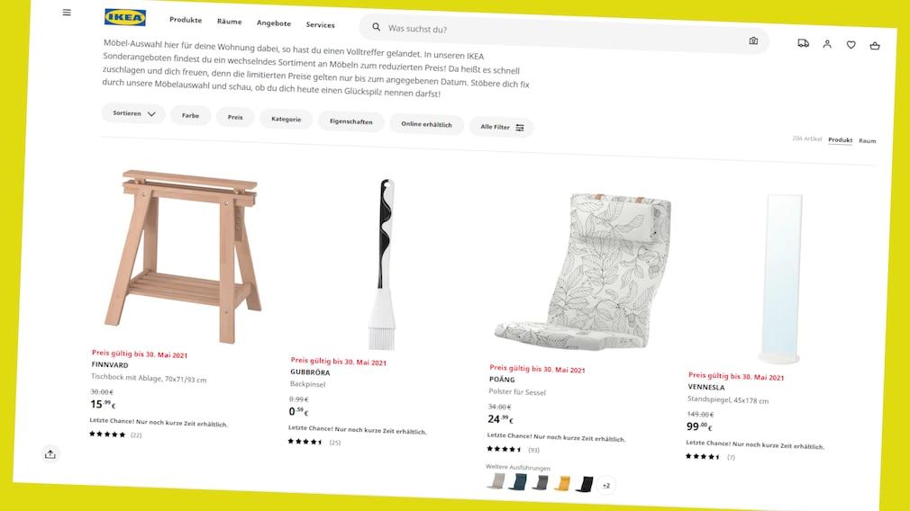 Zeitlich begrenzte Sonderangebote finden Sie bis in den Juni hinein bei Ikea.de.