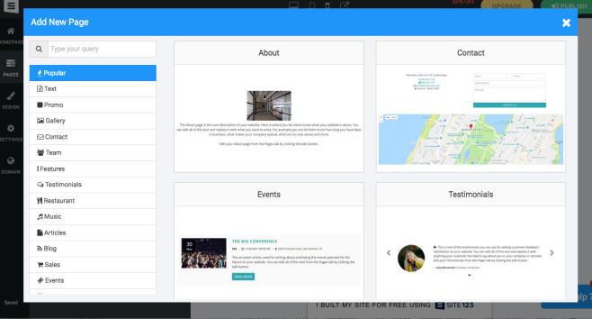 Site123: Der Website-Baukasten im Praxistest Für neue Seiten gibt es eine Auswahl an Vorlagen.©Site123