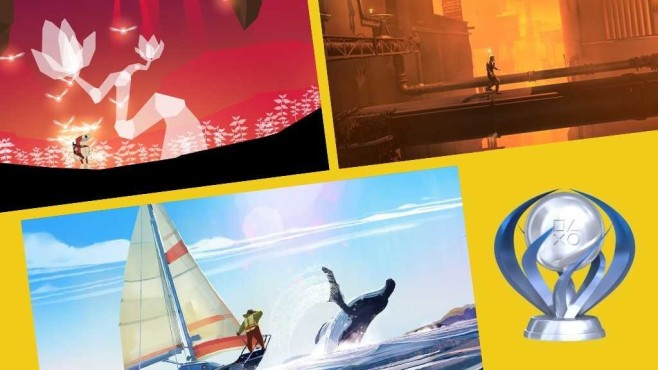 Platin-Trophäe und Spielszenen©Sony, Cococucumber, Broken Rules, Square Enix