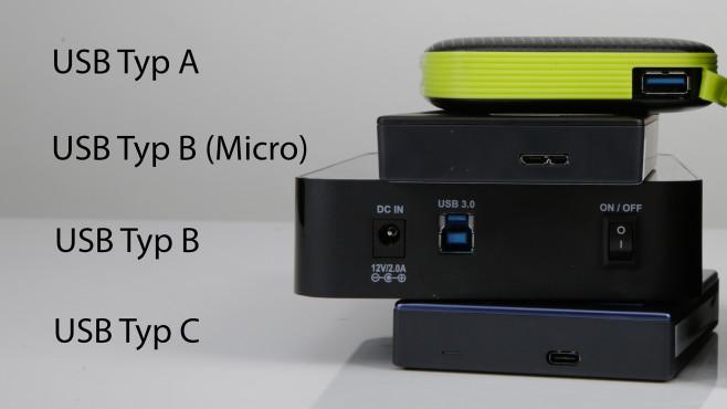 Externe Festplatten mit verschiedenen USB-Buchsen©COMPUTER BILD