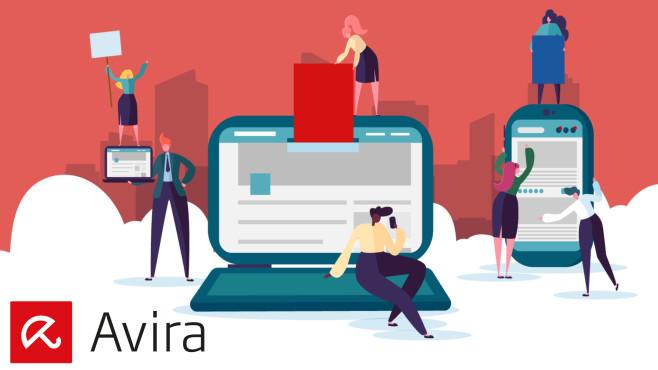 Grafik mit Avira-Logo, Menschen und Mobilgeräten©Avira