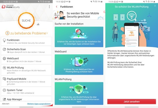 TM Mobile Security Funktionen und Optionen © Trend Micro / Android