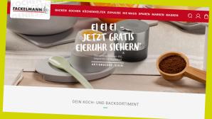 Fackelmann: Gratis-Eieruhr zur jeder Online-Bestellung sichern©Screenshot Online-Shop Fackelmann