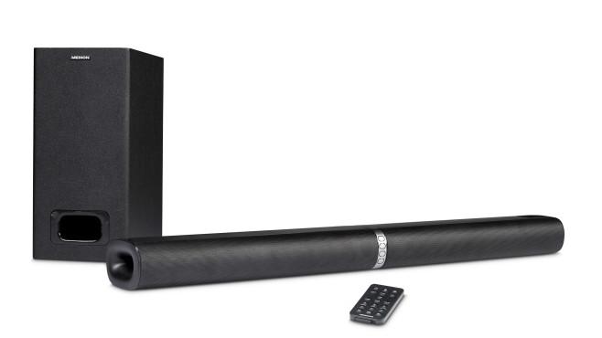 Günstige Soundbar bei Aldi: Die Medion P61220 (MD 44202) passt immer! Zum Lieferumfang der Medion P61220 Soundbar gehört neben dem Subwoofer auch eine Fernbedienung.©Medion