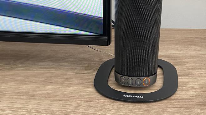 Über die Tasten an der Medion MD 44202 ist zwischen TV-Ton und Bluetooth-Wiedergabe umschaltbar, auch Lautstärketasten sind vorhanden.©COMPUTER BILD