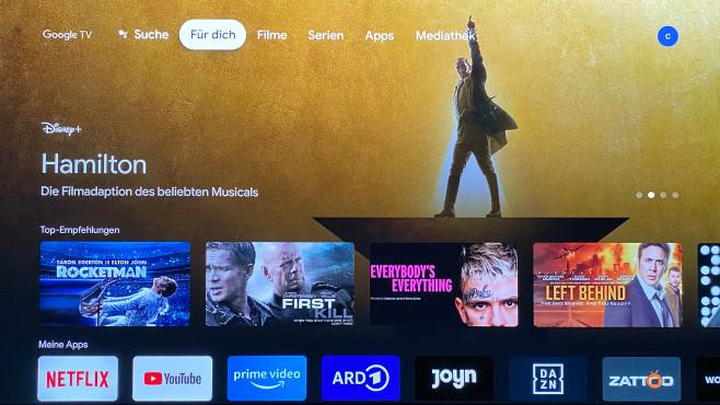 Benutzeroberfläche Google TV des neuen Chromecast©COMPUTER BILD