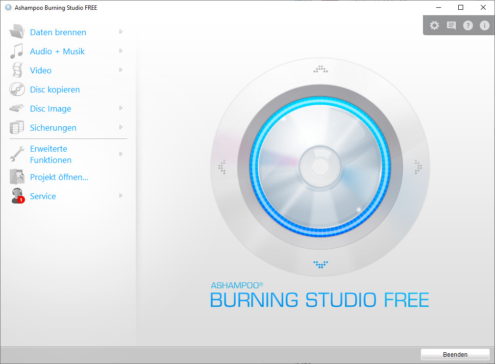 Screenshot 1 - Ashampoo Burning Studio Free – Kostenlose Vollversion