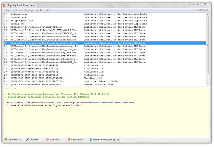Screenshot 1 - Registry Trash Keys Finder