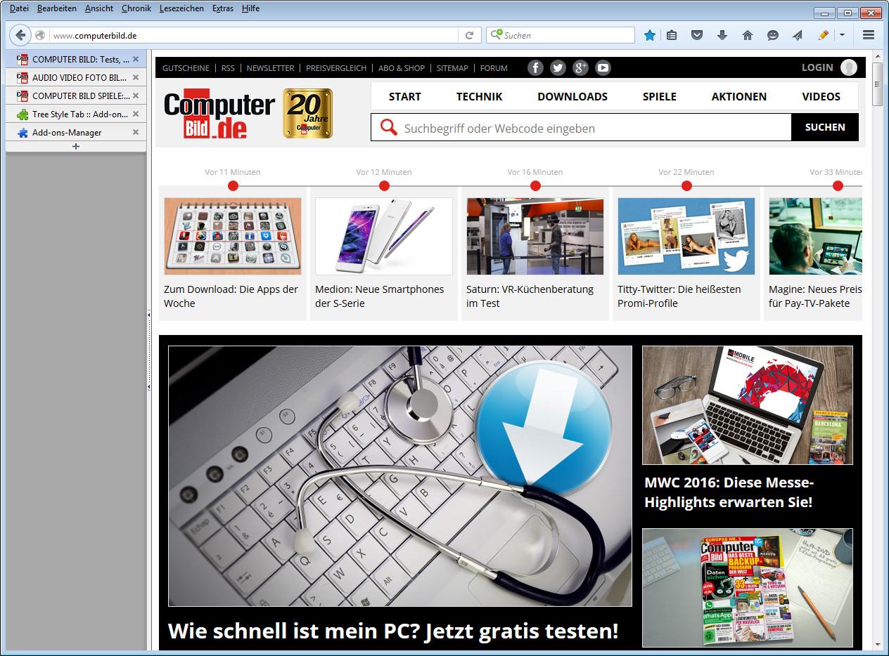 Screenshot 1 - Tree Style Tab für Firefox