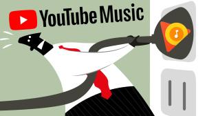 Grafik: Mensch zieht Stecker, daneben YouTube-Music-Logo©iStock.com/Planet Flem, Google
