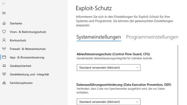 """Schutz vor Exploits: Die besten Tipps und Tools zum kostenlosen Download Bei Windows-10-Versionen ab XX funktioniert die Startmenü-Sucheingabe """"exploit-schutz"""".©COMPUTER BILD"""