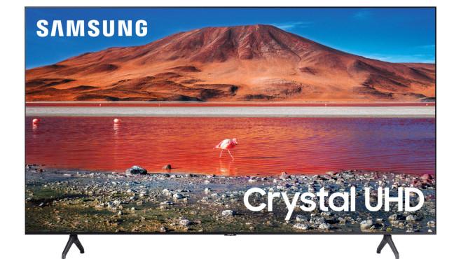 """Der Samsung TU7079 hat wie die allermeisten Fernseher einen LCD-Bildschirm (Liquid Crystal Display) mit UHD-Auflösung, der Hersteller bewirbt diesen Normalfall groß mit """"Crystal UHD"""".©Samsung"""