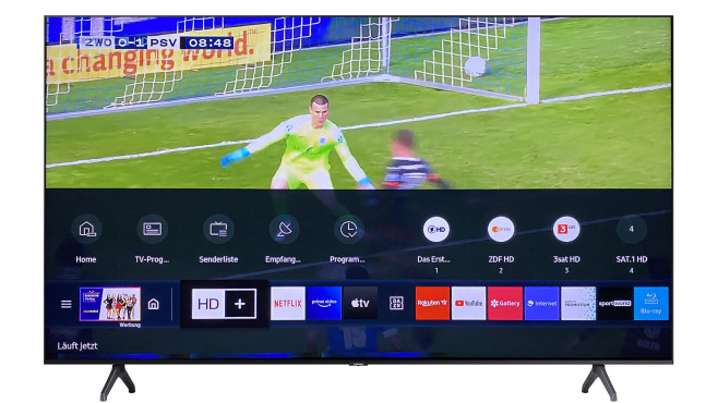 """Nach einem Druck auf die Home-Taste blendet der Samsung TU7079 den sogenannten """"Smart Hub"""" ein.©Samsung, COMPUTER BILD"""