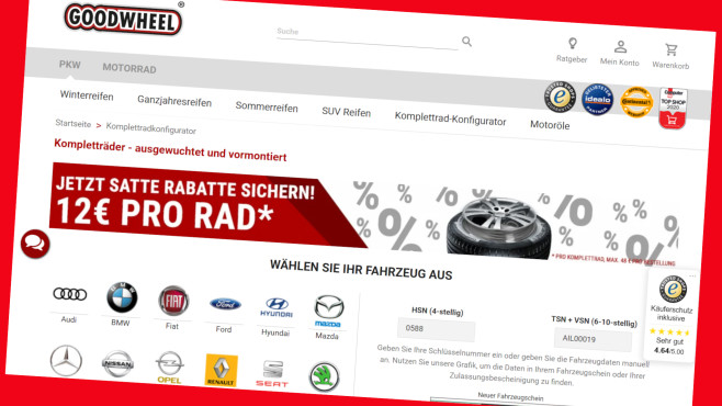 Goodwheel Angebot: Kompletträder online 48 Euro günstiger©Screenshot www.goodwheel.de