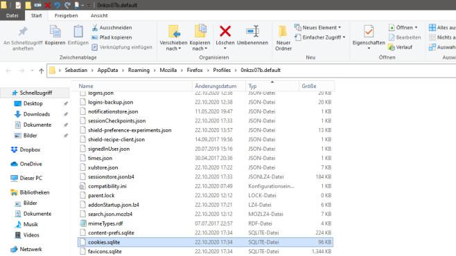 Cookies-Ratgeber: Die besten Tipps für Firefox und Google Chrome Öffnen Sie den Firefox-Profilordner, sehen Sie eine Ihre Cookies repräsentierende Datei.©COMPUTER BILD
